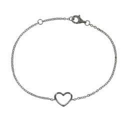 Bracelet Argent Rhodié Coeur Ajouré