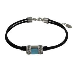 Bracelet Cuir Noir Rectangle en Argent et Larimar