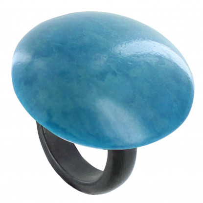 Bague Coquille de Tagua Turquoise