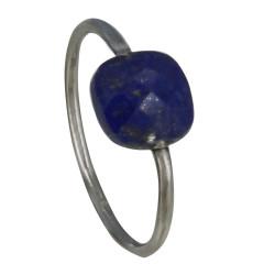 Bague Argent Carré de Lapis Lazuli Facetté