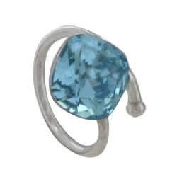 Bracelet Argent orné d'un cristal de Swarovski Bleu Ciel