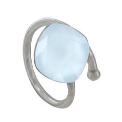 Bague Argent Swarovski Bleu Pâle