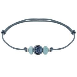 Bracelet Lien Synthétique Perle d'Agate Craquelée Deux Anneaux de Larimar et d'Argent