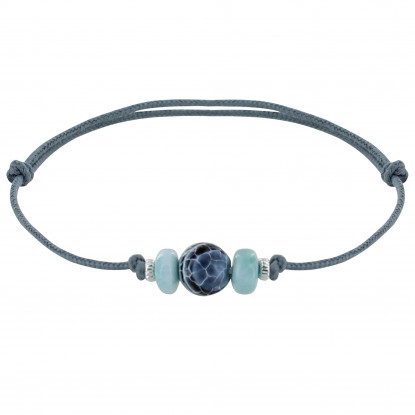 Bracelet Lien de Coton Perle d'Agate Craquelée Deux Anneaux de Larimar et d'Argent
