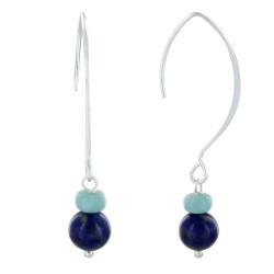 Boucles d'Oreilles Argent Crochet Rondelle de Larimar et Perle de Lapis Lazuli