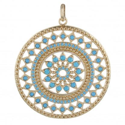 Pendentif Plaqué Or Astre Rond et Perles Turquoise