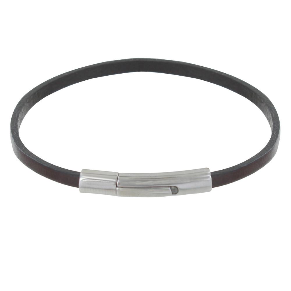bracelet femme cuir simple fermoir acier inoxydable. Black Bedroom Furniture Sets. Home Design Ideas
