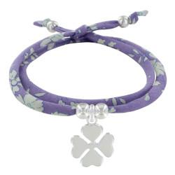 Bracelet Double Tour Lien Liberty Violet et Trèfle Argent