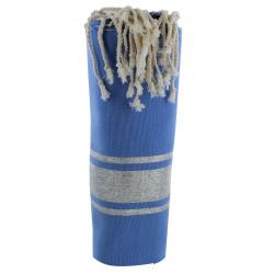 Fouta Drap Plage et Hammam Coton Bleu Foncé Rayé Lurex Argent 100 x 200cm