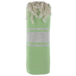 Fouta Drap Plage et Hammam Coton Vert Rayé Lurex Argent 100 x 200cm