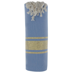 Fouta Drap Plage et Hammam Coton Bleu Rayé Lurex Doré 100 x 200cm