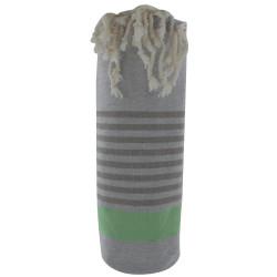 Fouta Drap Plage et Hammam Coton Couleur Gris Clair Bande Verte Petites Rayures Marron 100 x 200cm