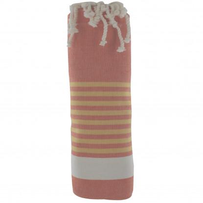 Fouta Drap Plage et Hammam Coton Couleur Orange Bande Blanche Petites Rayures Jaune 100 x 200cm