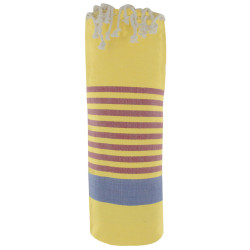 Fouta Drap Plage et Hammam Coton Couleur Jaune Bande Bleue Petites Rayures Rouge 100 x 200cm