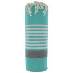 Fouta Drap Plage et Hammam Coton Couleur Vert Bande Noire Petites Rayures Blanche 100 x 200cm