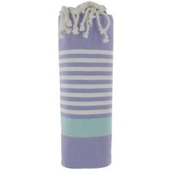 Fouta Drap Plage et Hammam Coton Couleur Violet Bande Verte Petites Rayures Blanche 100 x 200cm