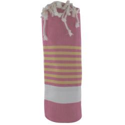 Fouta Drap Plage et Hammam Coton Couleur Fuchsia Bande Blanche Petites Rayures Orange 100 x 200cm