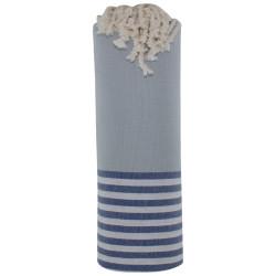 Fouta Drap Plage et Hammam Coton Couleur Gris Clair Rayé Blanc et Bleu 100 x 200cm