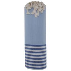 Fouta Drap Plage et Hammam Coton Couleur Bleu Ciel Rayé Blanc et Bleu 100 x 200cm