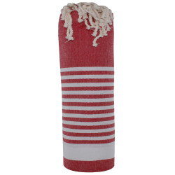 Fouta Drap Plage et Hammam Coton Rouge Bande et Petites Rayures Blanches 100 x 200cm