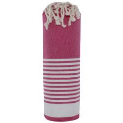 Fouta Drap Plage et Hammam Coton Fuchsia Bande et Petites Rayures Blanches 100 x 200cm