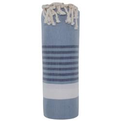 Fouta Drap Plage et Hammam Coton Couleur Gris Bleu Bande Blanche Petites Rayures Noires 100 x 200cm