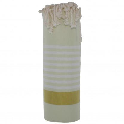 Fouta Drap Plage et Hammam Coton Couleur Jaune Pâle Bande Jaune Moutarde Petites Rayures Blanches 100 x 200cm