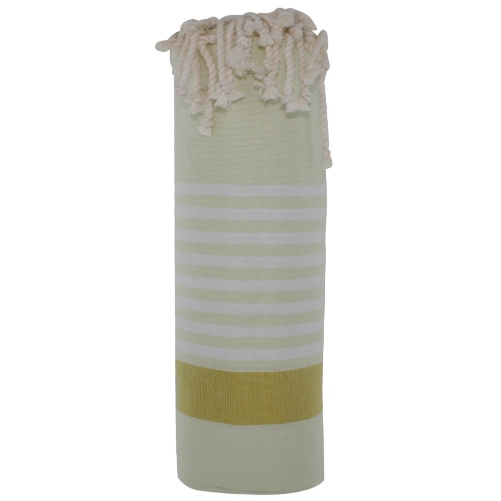 fouta drap plage et hammam coton couleur jaune p le bande jaune moutarde petites rayures blanches. Black Bedroom Furniture Sets. Home Design Ideas