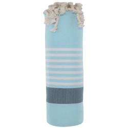 Fouta Drap Plage et Hammam Coton Couleur Bleu Ciel Bande Bleue Foncée Petites Rayures Blanches 100 x 200cm