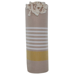 Fouta Drap Plage et Hammam Coton Couleur Beige Bande Orange Petites Rayures Blanches 100 x 200cm