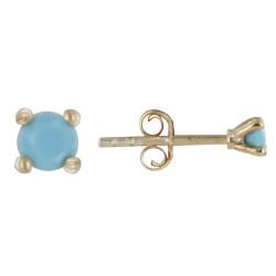 Boucles d'Oreilles Plaqué Or Clous Perle Turquoise