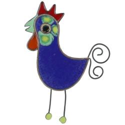 Broche Coq émaillée Bleu