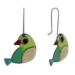 Boucles d'Oreilles Oiseaux émaillés Vert