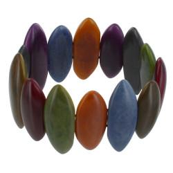 Bracelet Elastique Amandes de Tagua Multicolores Automne