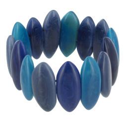 Bracelet Elastique Amandes de Tagua Dégradé Bleu