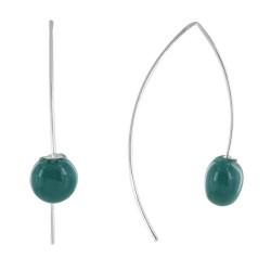 Boucles d'Oreilles Crochet Métal Argenté et Perles Céramique Bleu Vert