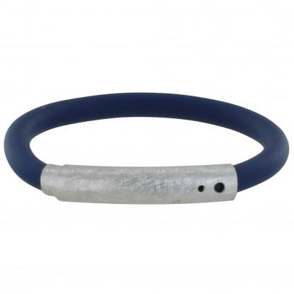 PHOTO A VE Bracelet Argent Brossé et Silicone Bleu Foncé