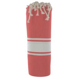 Fouta Drap Plage et Hammam Coton Couleur Rouge Tomate 100cm x 200cm