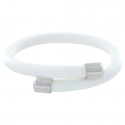 PHOTO A VE Bracelet Argent et Silicone Blanc