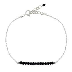 Bracelet Chaine Argent Rhodié et Spinelle