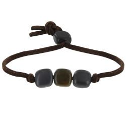 Bracelet Trois Cubes de Tagua Gris et Kaki Lien en Suédine