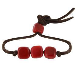 Bracelet Trois Cubes de Tagua Lien en Suédine
