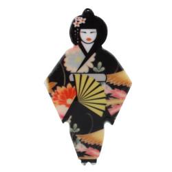 Broche Céramique Geisha et Eventail