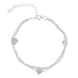 Bracelet Argent Trois Rangs et Coeurs