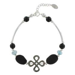 Bracelet Tube Argent Trèfle de Nacre Perles de Larimar et Lave