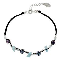 Bracelet Lien en Coton Tréssé Noir Perles de Keshi d'Eau Douce et Pépites de Larimar