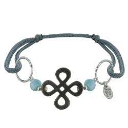 Bracelet Lien Gris Trèfle en Nacre Perles de Larimar et Anneaux Argent