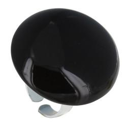 Bague Métal Argenté Gros Champignon Céramique Noire