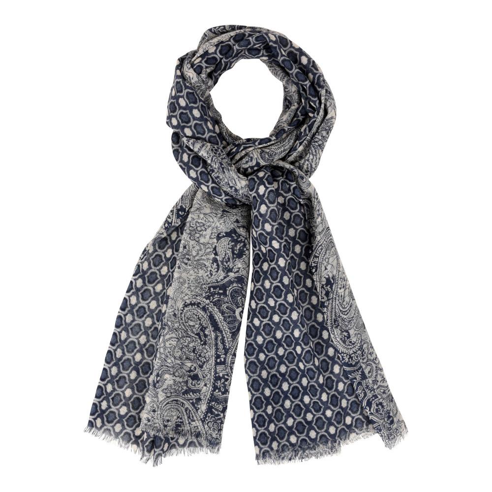 echarpe 100 laine motifs cachemire bleu creme. Black Bedroom Furniture Sets. Home Design Ideas