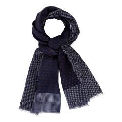 Echarpe 100% Laine Bleu Marine Et Pois Marron - Bordure Plumetis Blancs